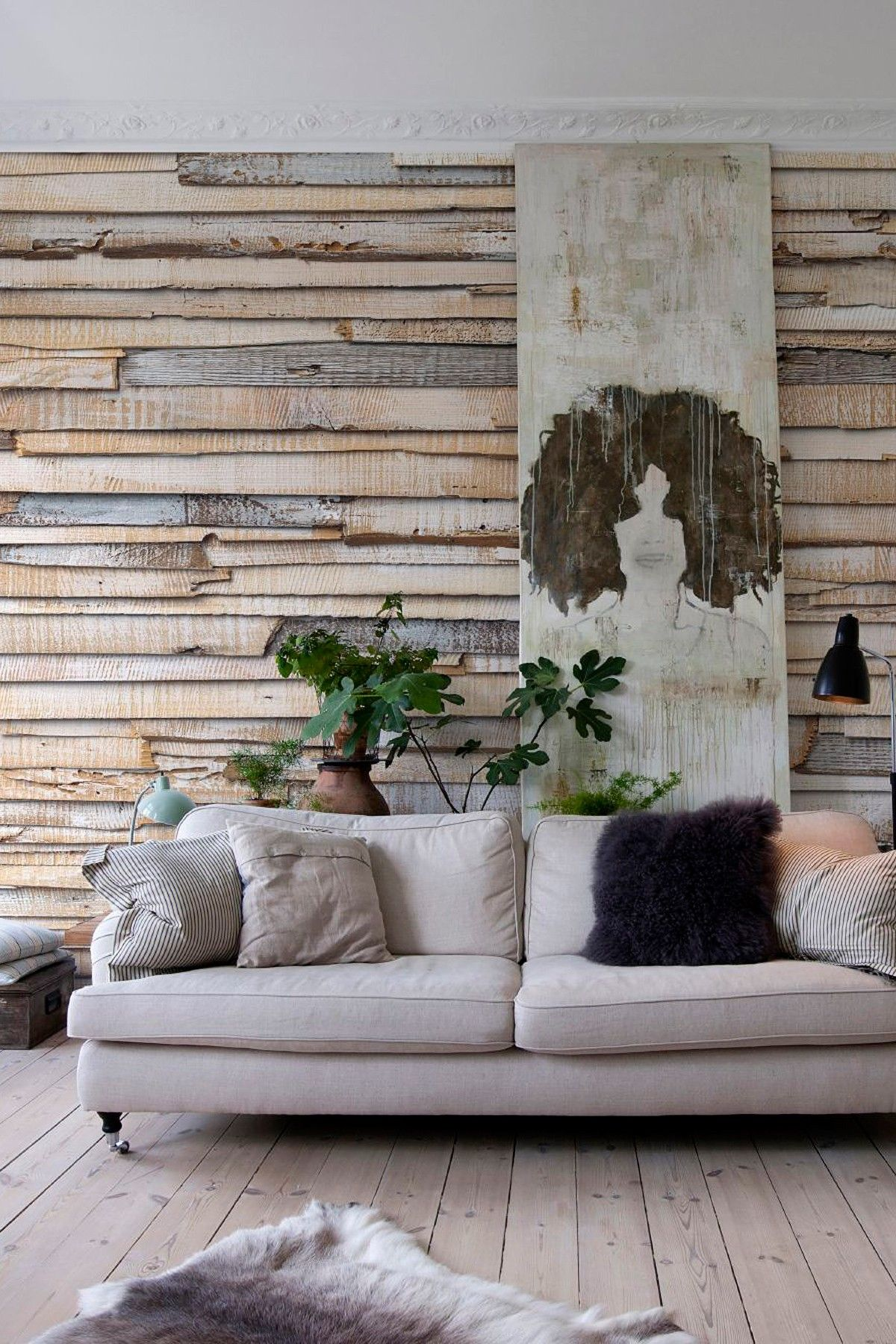 Whitewashed wood wall mural mid century modern pinterest