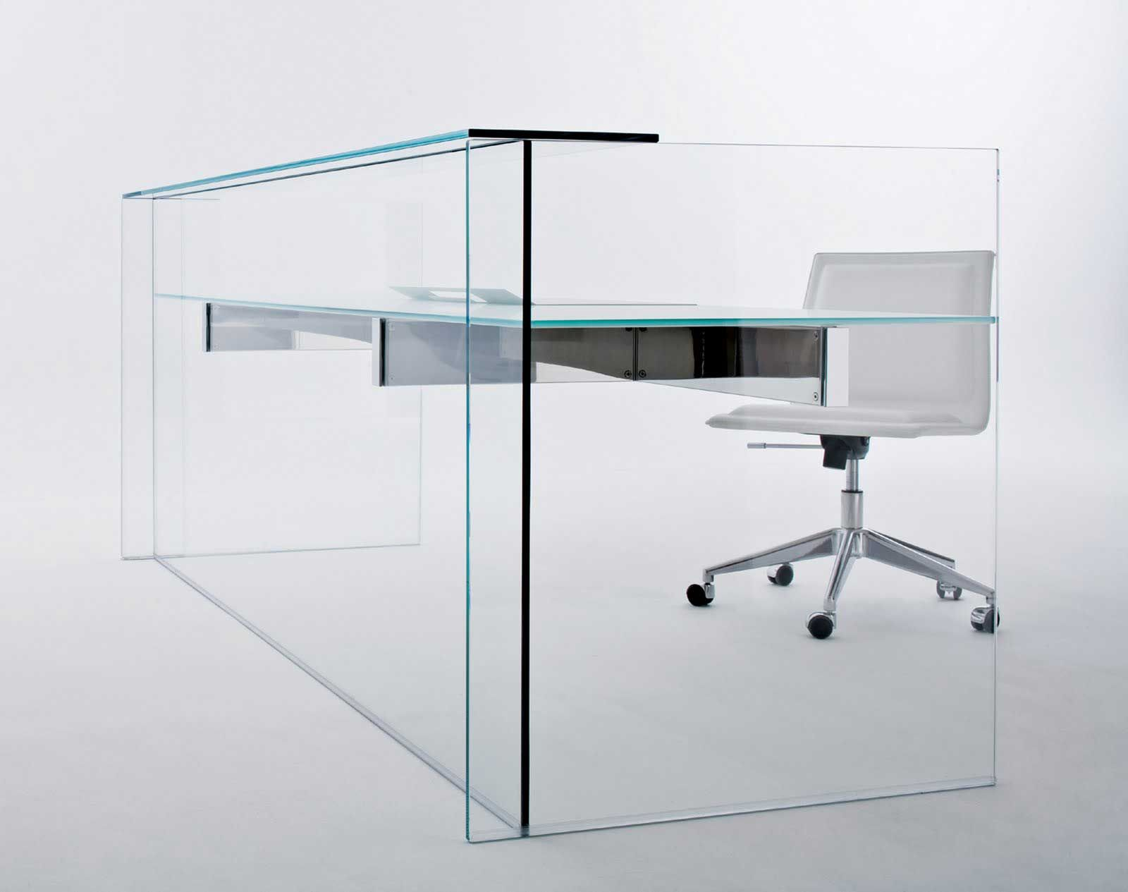 Italian transparent glass reception desks design