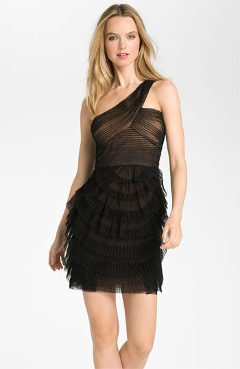 Bcbgmaxazria One Shoulder Tiered Mesh Dress Available At Nordstrom