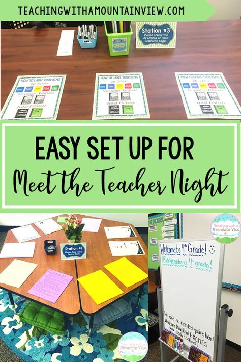 Meet the Teacher Night Made Easy! is part of Meet the teacher - It's almost time for Meet the Teacher nights to commence around the country, and it has always been one of my very favorite nights of the year! I get so excited to meet all of my new students and their families  This first impression is so important, and it can sometimes be a little bit overwhelming for everyone teachers, students, and parents! I have written before about how important it is to instill confidence and build rapport with parents and students at this first meeting  You can read about how I do that HERE  I've never really addressed how I actually set up my Meet the Teacher Night, and it's always a little bit different from year to year  Last year, I tried my best to make Meet the Teacher night as simple and easy as possible  Here is how we set it up! I met each family at the door so that I was able to interact with each family for a moment right when they walked into the room  When nobody was walking in, I would roam the room and chat with whoever was already there  When I met them at the door, I explained to my students that they would need to go to each of four stations and follow the directions there  They did not have to go in order, but they needed to stop at each one  Here are my four stations First, they picked up the 7,000 papers that the school provides  ) Then, they (really, their parents) head on over to the information table  There were three forms to fill out a volunteer form, a student information form, and a  how are you getting home the first day  form  Most parents sat at the desk you see and filled these papers out while their students went on to the next step    Next, they had to put together their supplies! Our school has started implementing a system where all of the students pay a fee and we buy all of their supplies for them  Since they don't have desks, each student had a book box  There was a paper next to the station that had their name and student number next to it, and they grabbed their book box  We had prefilled it with all of their folders and notebooks  The only thing they needed to do was label them all so that we could avoid doing this as a whole class the first few days of school  It worked out so well! We set out a sample book bin (number 30 that you see here) so that they could see exactly what it should look like when they were done  There were label sheets for every student and Sharpies so that they could write their name  I made a little sample page on how to label their bins (which label went on which color folder)  99% of my students did a fantastic job with this task  There were a few who needed a bit more support, and it was a good experience for me to see how the students followed directions  I'd do this again in a heartbeat to avoid the chaos of doing it as a whole class on the first day of school! Finally, they did this little prompt (I think I got this idea from someone on IG last year! If it was you, please please let me know so that I can give you credit!)  They each had to write one thing they were excited about  I left it up the first few days of school so that they could all read each other's responses  This Meet the Teacher Night set up was one of my favorites that I've ever done! Kids and their parents had plenty to do while I greeted everyone, and they were there long enough that I had a chance to sit down and chat with all of the families  It was very minimal set up on my part, too! I'd highly recommend it  Looking for more Back to School inspiration  Check out these Back to School posts!