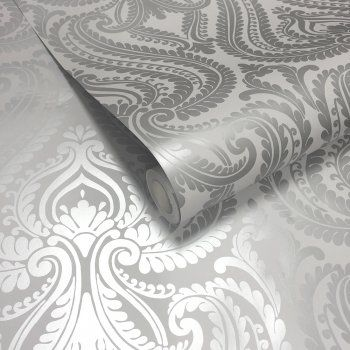 Shimmer Damask Wallpaper Soft Grey Silver Wallpaper Bedroom Feature Wall Feature Wall Bedroom Damask Wallpaper