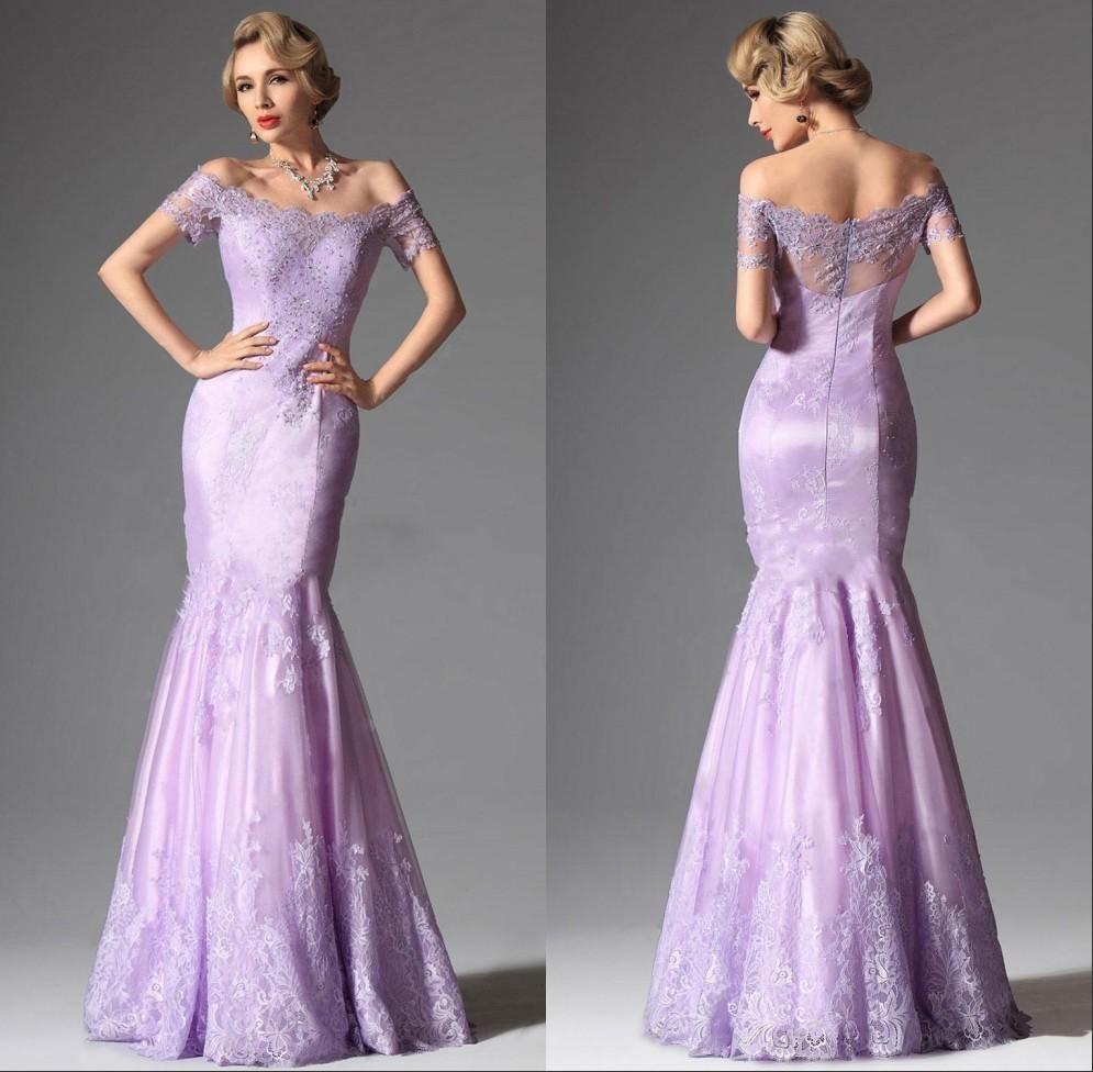 Lace Purple Mermaid Prom Dress