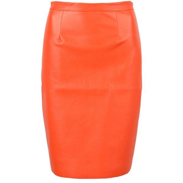 Orange Pu Split Back Pencil Skirt (€26) ❤ liked on Polyvore featuring skirts, bottoms, high-waisted midi skirts, high-waist skirt, pencil skirt, high waisted knee length skirt and mini skirt
