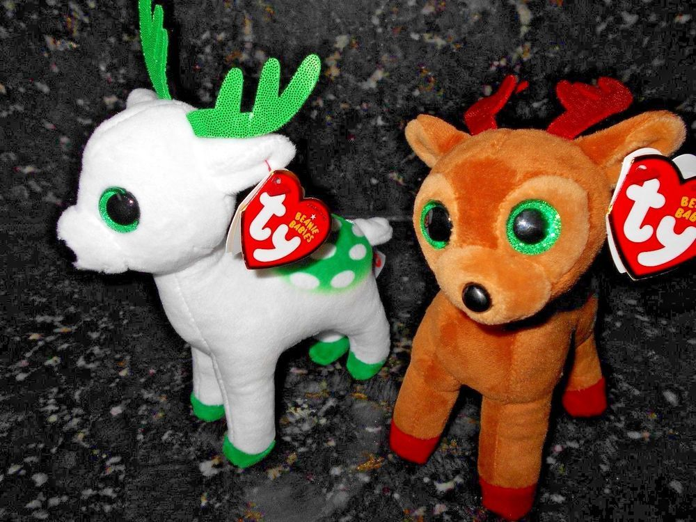 f6829a4ace1a3 TY Beanie Babies - PEPPERMINT   TINSEL THE REINDEER 6