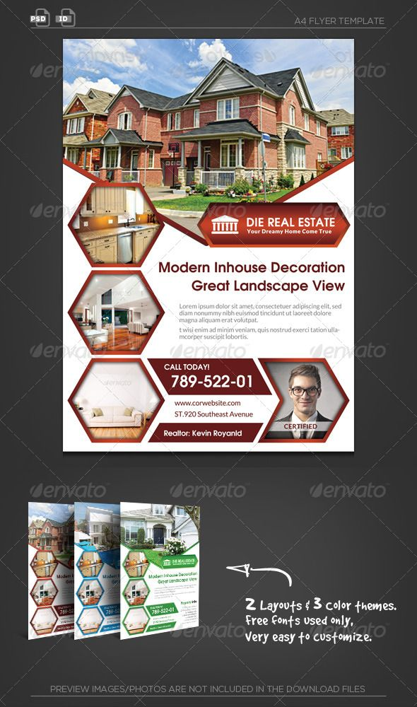 Real Estate Corporate Flyer  Hexagon  Real Estate Real Estate