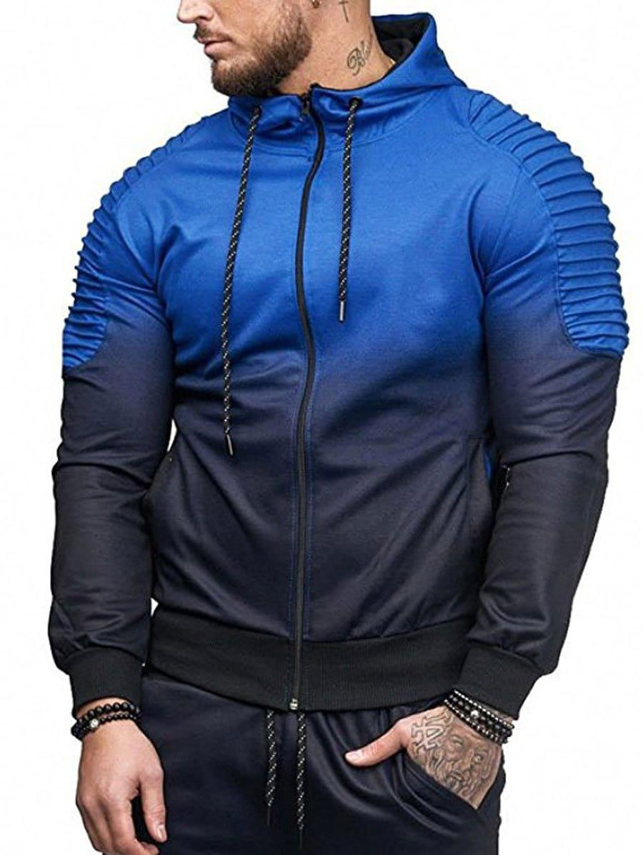 0beb4bcc71fa3 Gradient Print Shoulder Pleated Sports Zip Hoodie in 2019 | Men's ...