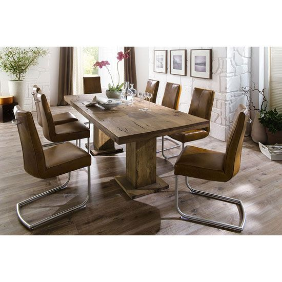 Delightful Mancinni 8 Seater Dining Table In 220cm With Flair Dining Chairs