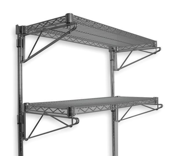 wall mount 2 tier adjustable steel metal wire commercial chrome shelving rack free shipping. Black Bedroom Furniture Sets. Home Design Ideas