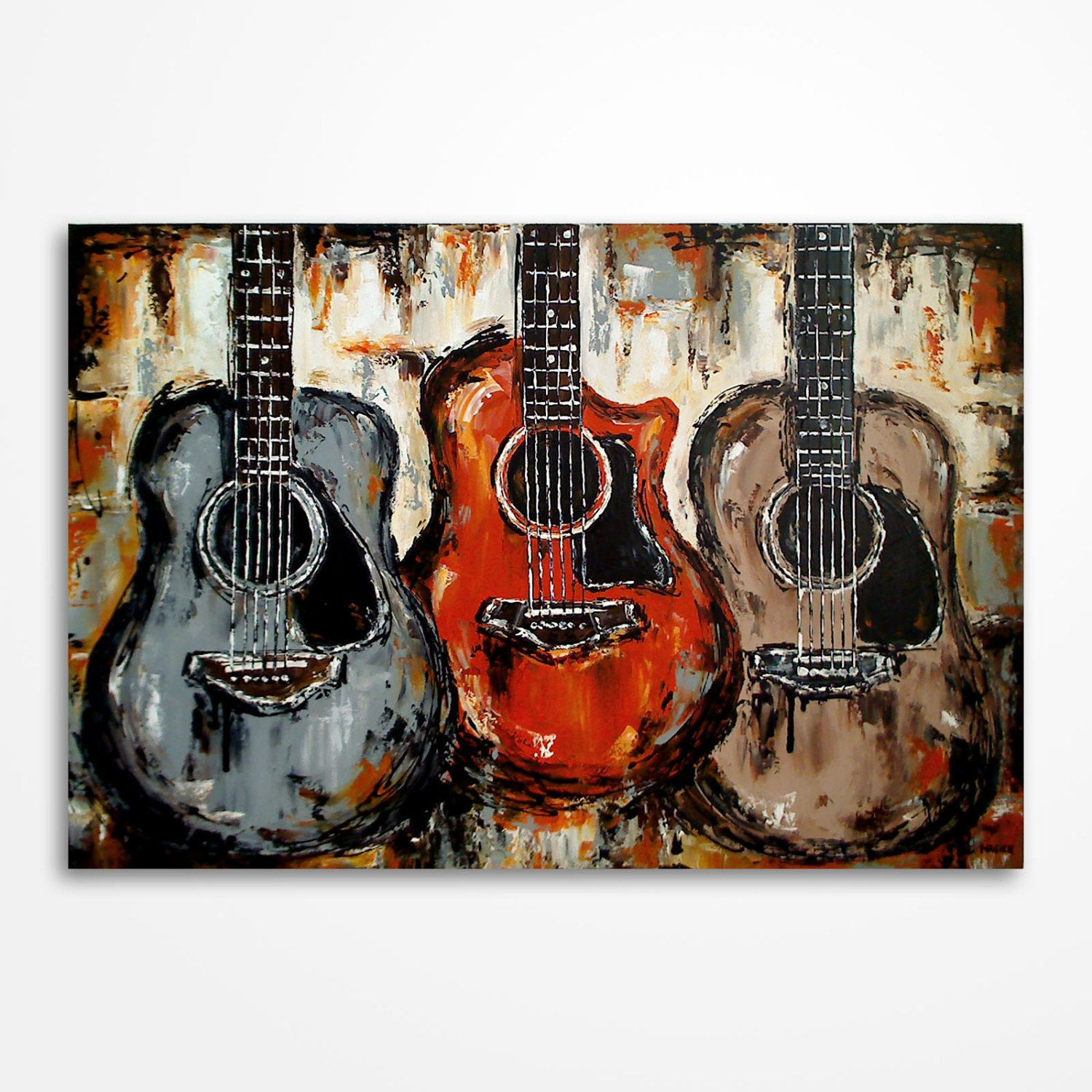 Acoustic Guitar Painting Music Art Rustic Decor Original Palette Knife By MagierFineArt