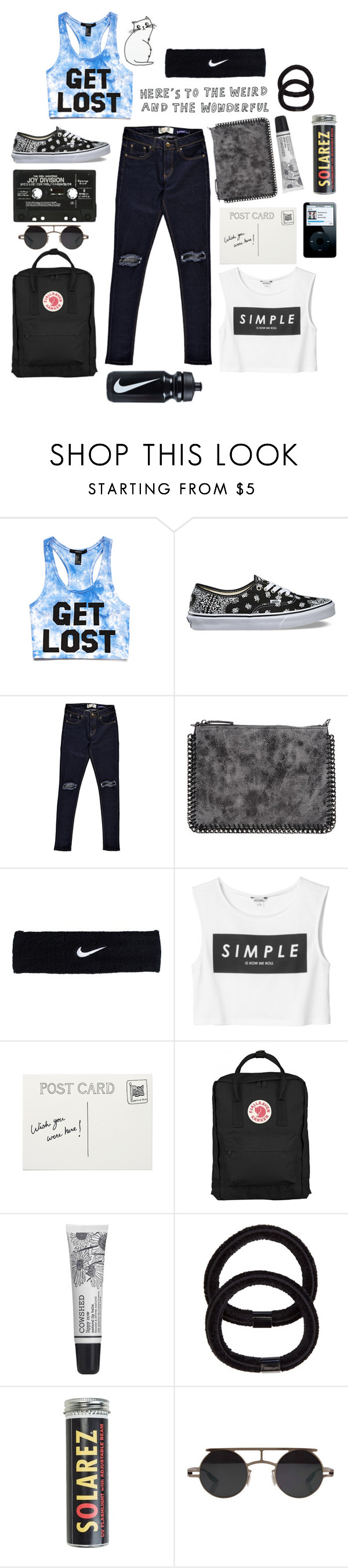 """""""Venture."""" by dooboo ❤ liked on Polyvore featuring Forever 21, Vans, Boohoo, Metropark, NIKE, Monki, Cowshed, John Lewis, Solarez and Retrò"""