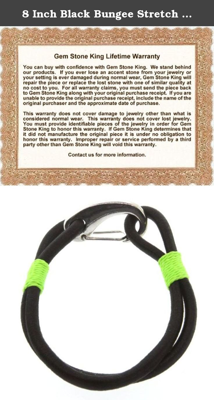 8 Inch Black Bungee Stretch Cord Bracelet w/ Easy Clasp. This beautiful item is brand new and comes with complimentary gift packaging appropriately selected to match the item you purchased. The packaging ranges from dainty foam insert packaging to luxurious leather insert cherry wood boxes. Every order is fully insured regardless of value. This insurance protects you against damage or the loss of your item while in transit. The Shipping and Handling fees include the insurance so there is…