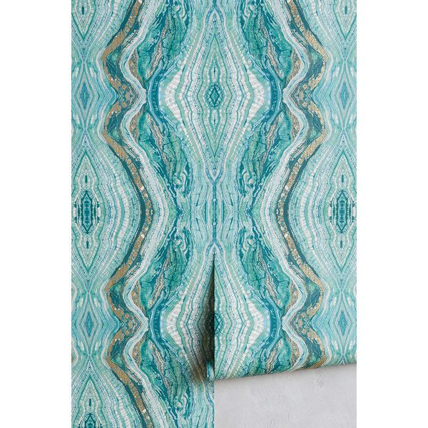 anthropologie striation wallpaper 88 liked on polyvore featuring home home decor - Turquoise Home Decor Accessories