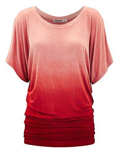 Women's Tunics - LL Womens Short Sleeve Oversized Ombre ...