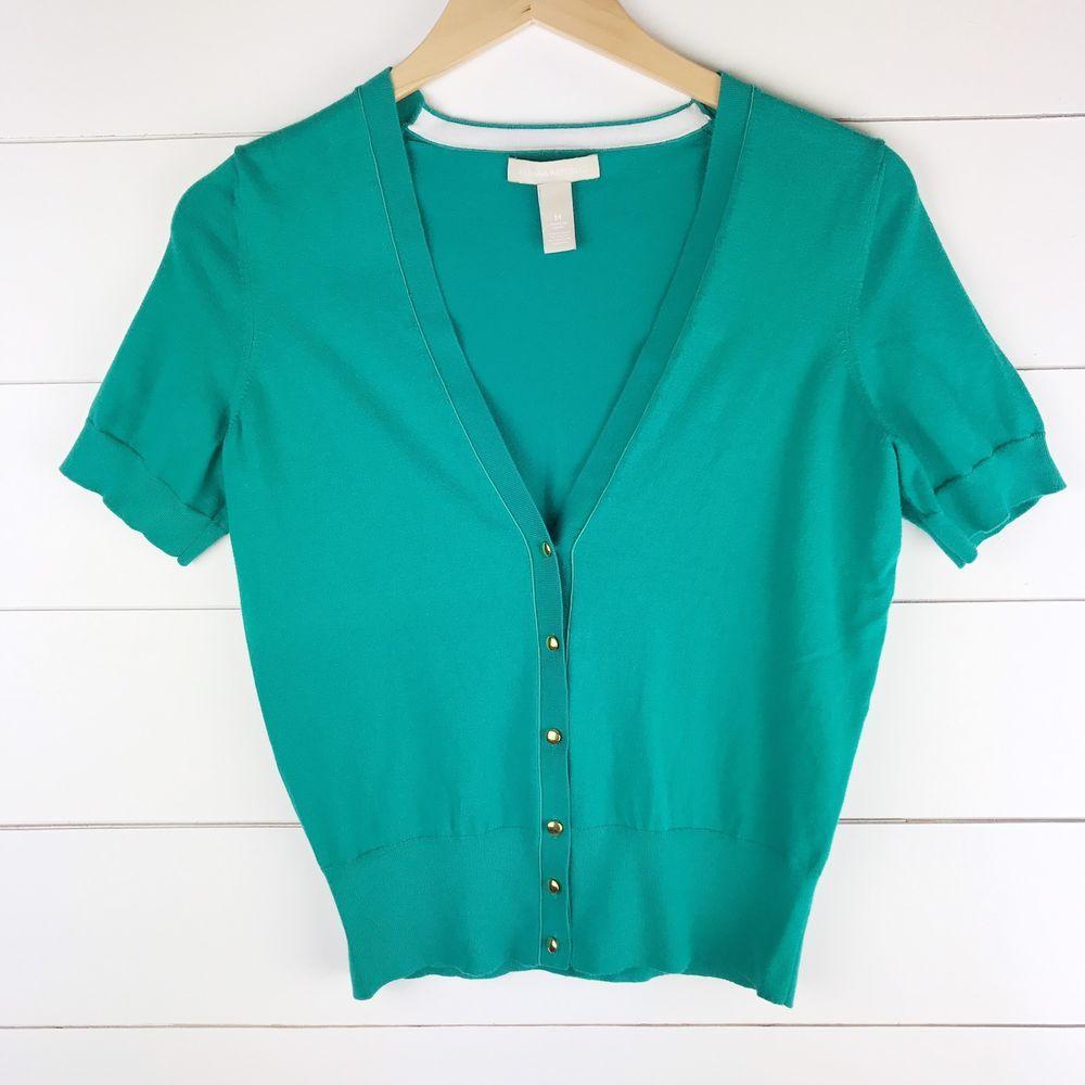 Banana Republic Green Sweater Cardigan Short Sleeve Gold Buttons ...