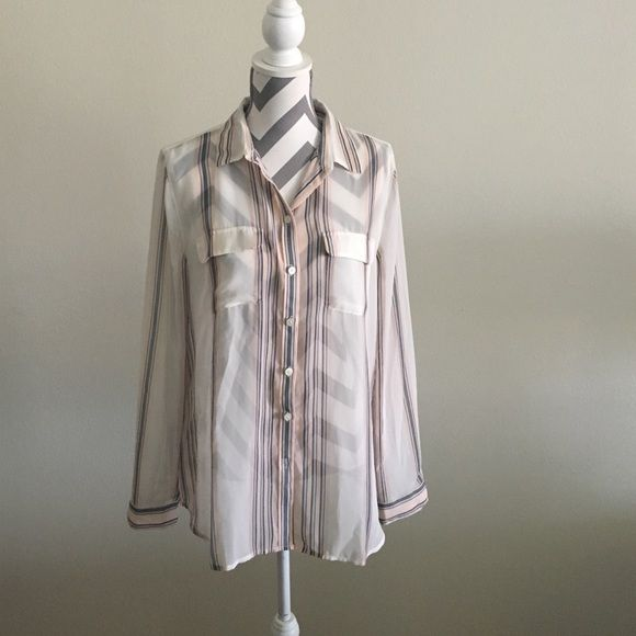 Loft Sheer button down 100% polyester sheer button down. EUC LOFT Tops Button Down Shirts