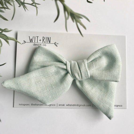 Bow Clip // Pale Aqua Linen (pinwheel)
