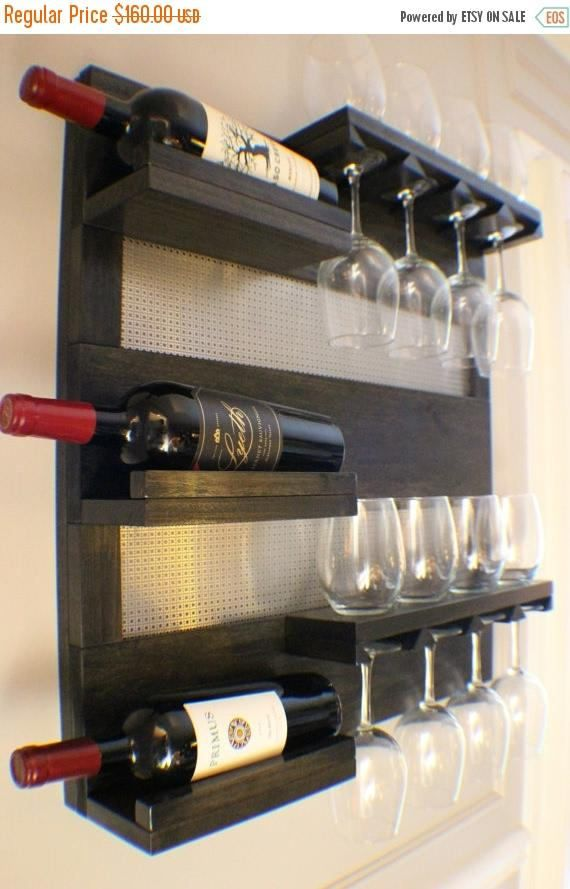Modern Ebony And Chrome Stained Wall Mounted Wine Rack With Shelves