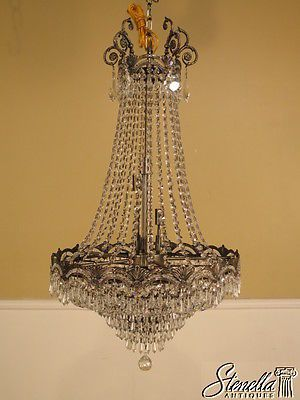 39889: French Style Crystal Beaded 8 Light Chandelier ~  NEW