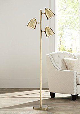 Aaron Aged Brass 3 Light Floor Lamp Amazon Com Floor Lamps Living Room Lamps Living Room Stylish Floor Lamp