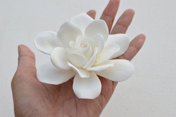 White Gardenia Hair Clip Bridal Gardenia Hair Fascinator Gardenia Flower Hair Clip Flower Hair Clips Bridal Hair Clip Gardenia