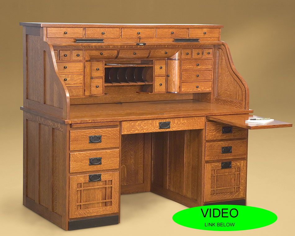 amish roll top desk with lots of drawers m s. Black Bedroom Furniture Sets. Home Design Ideas