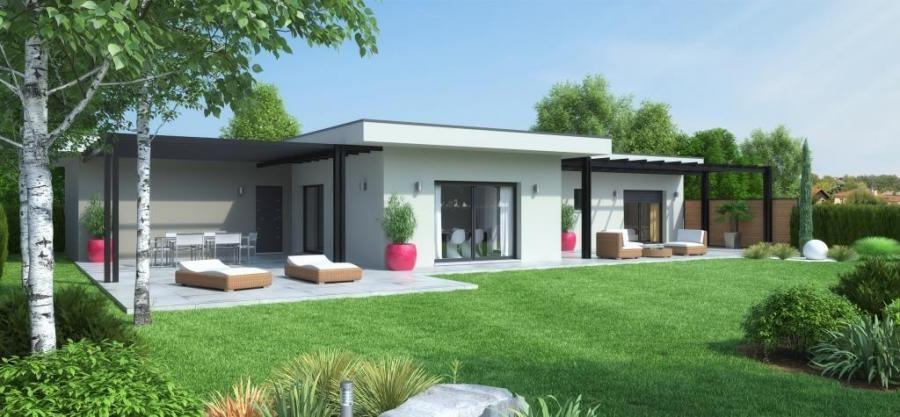 Maison Calivan Contemporaine Plain Pied Terrasse Couverte Pergolas