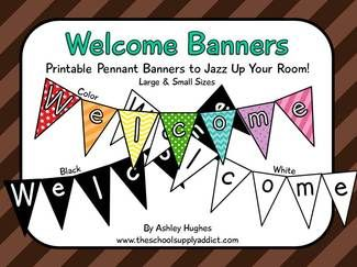 Here's a freebie!  3 printable pennant banners.  There are 2 sizes (small & large) of each style: color, white with black letters, and black with white letters.  Print (bw onto colored paper), laminate, and jazz up your room for back to school, visitors, or special events!