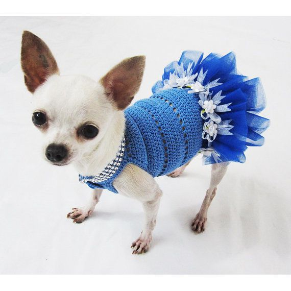 Cute Teacup Dog Tutu Dress Crochet Bling Bling Wedding Designer