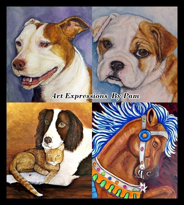 Pam Utton, dog artist extraordinaire...and she'll groom your dog too!!
