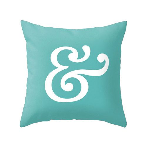 Ampersand pillow cover. Teal pillow ampersand cushion by LatteHome