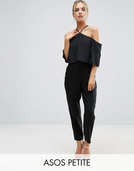 71a757e16c ASOS PETITE Jumpsuit with Ruffle Bardot and Halter Neck Detail