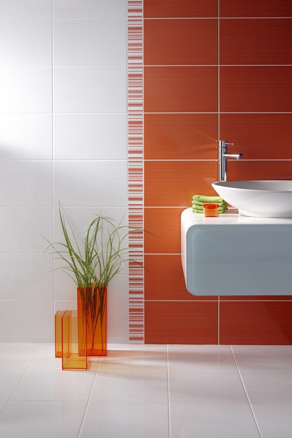 Brighton Orange 24 8x39 8cm Gloss Wall Tile By British