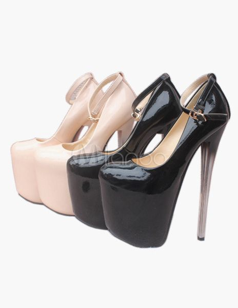 Buckle PU Leather Ankle Strap Round Toe Sexy High Heels - Milanoo.com 6f81e951bae6