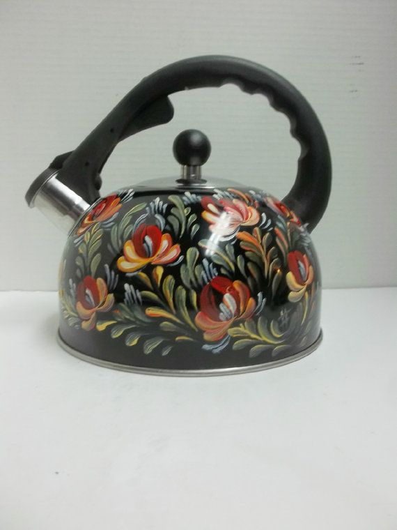 Black Enamelware, Tea Kettle, Hand Painted, Scandinavian Style Design,Swedish Norwegian Rosemaling, Folk Art Style.