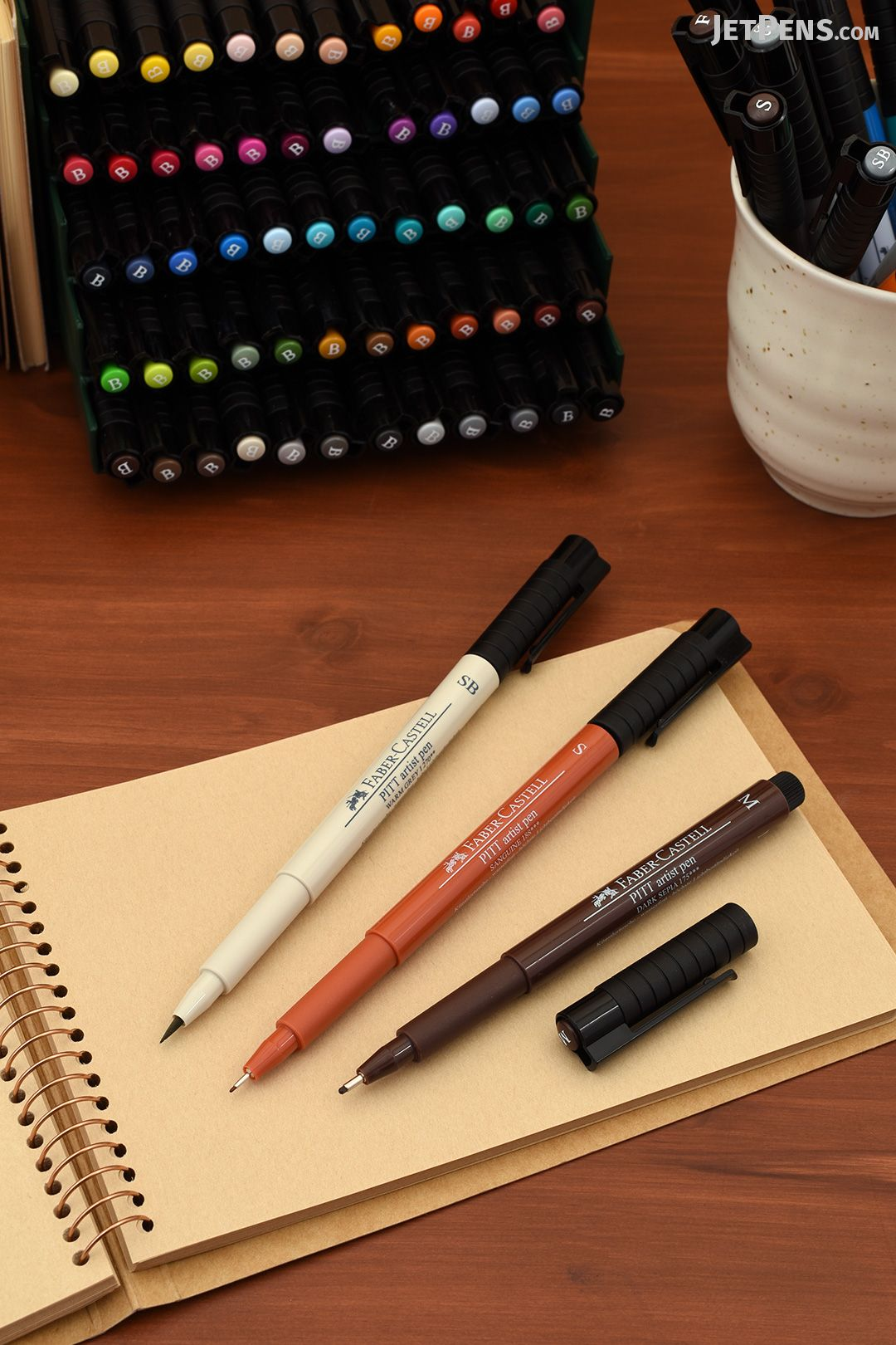 4 Pens Faber Faber-castell Pitt Artist Warm Colours Pen Fineliner pack Of 4