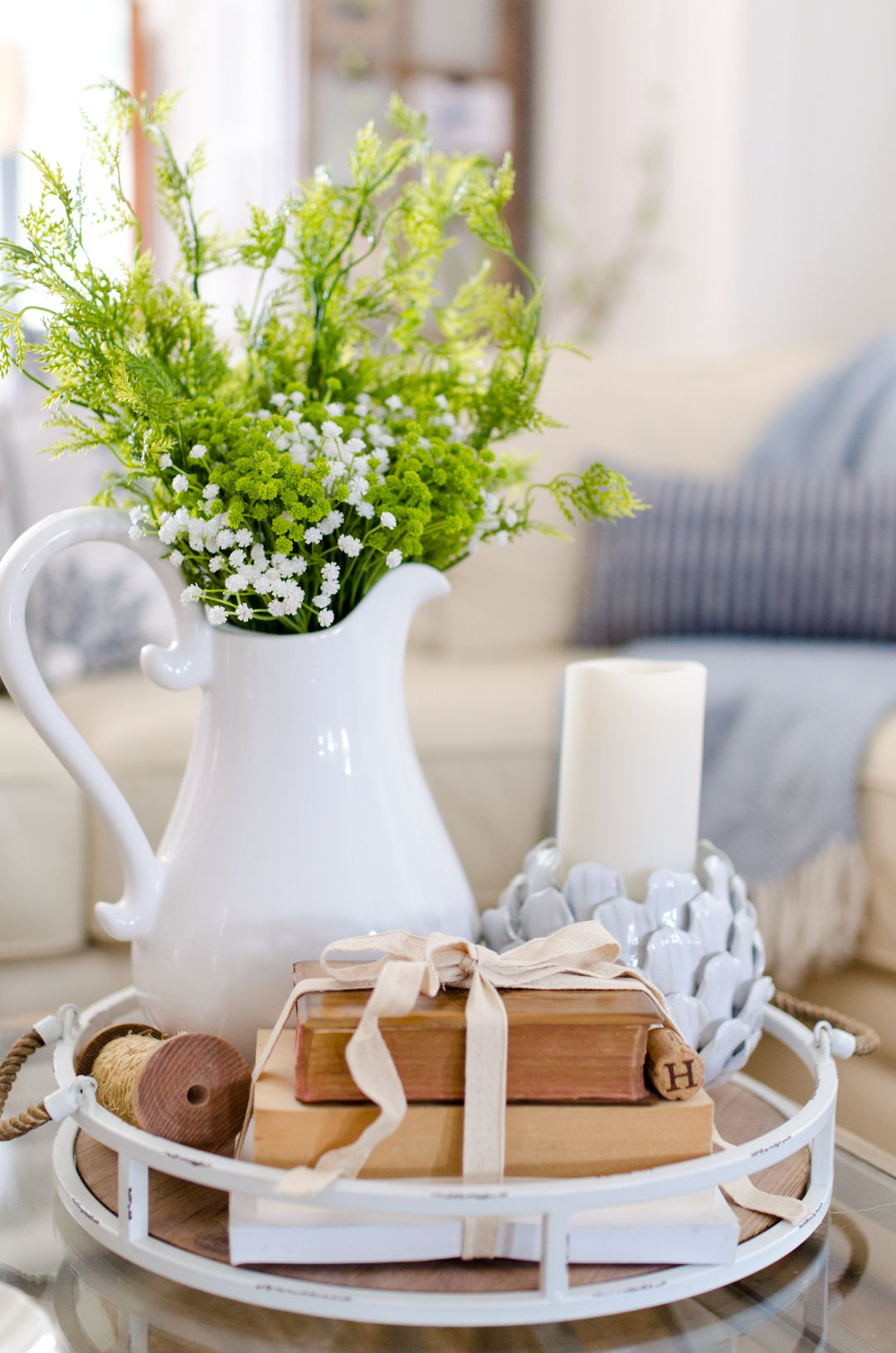 Instagram 2 Coffee Table Flowers In The White Pitcher And Vintage Books Tied With Ribb Coffe Table Decor Farmhouse Coffee Table Decor Coffee Table Centerpieces