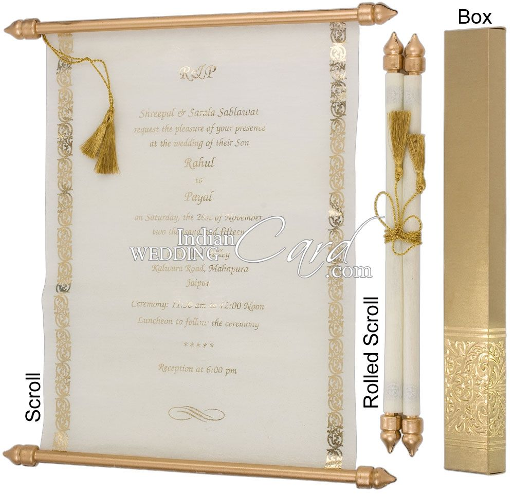 S921, Gold Color, Shimmery Finish Paper, Scroll Invitations, Jewish ...