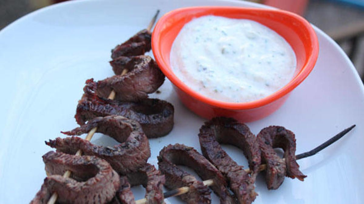 Mini Steak on a Stick with Horseradish Dipping Sauce.