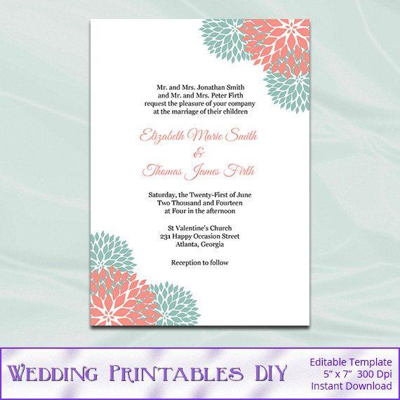 Mint And Coral Wedding Invitations Templates  Diy Printable