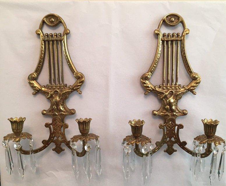 Set Of 2 Brass Wall Sconces With 24 Crystal Prisms Double Candlestick Harp And Swan Design Sconce For Home Office Or Music Room Sconces Brass Wall Sconce Bronze Wall Sconce Crystal candle wall sconces