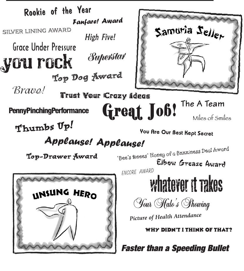 Sample Employee Recognition Award Certificate Titles - Baudville - examples of certificate of recognition