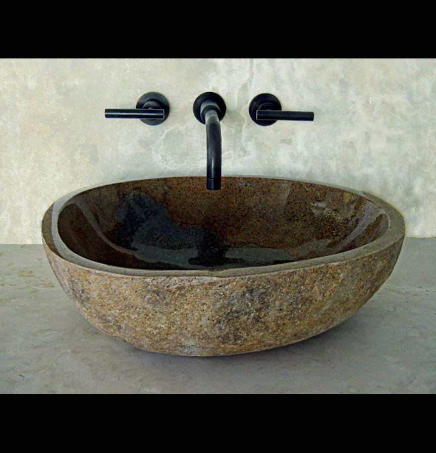 River Rock Amber Granite Bathroom Vessel Sink Sinks Gallery