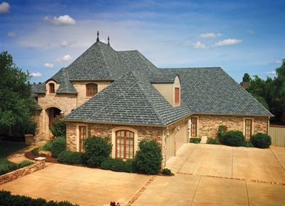 Home Featuring Gaf Camelot Shingles In Williamsburg Slate Roof Shingles Roof Cost Roof Architecture