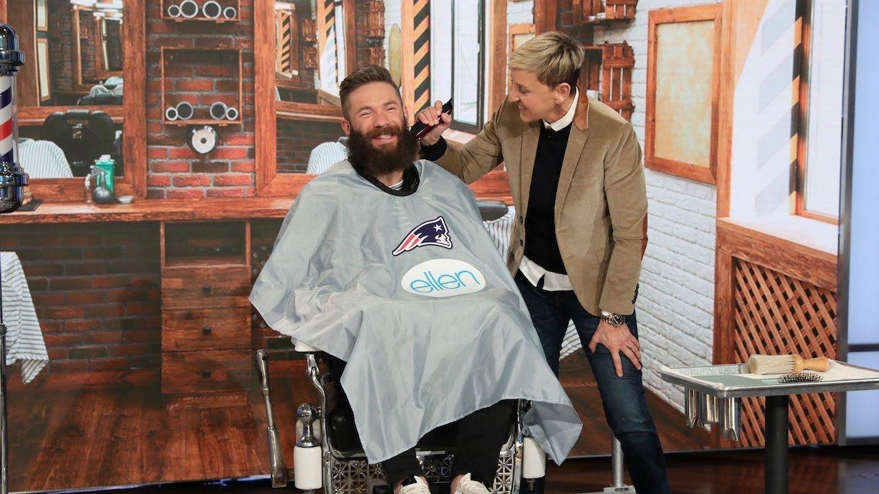 Extended Ellen Shaves Off Super Bowl Mvp Julian Edelman S Beard For Charity Youtube Julian Edelman Julian Edelman Beard Super Bowl