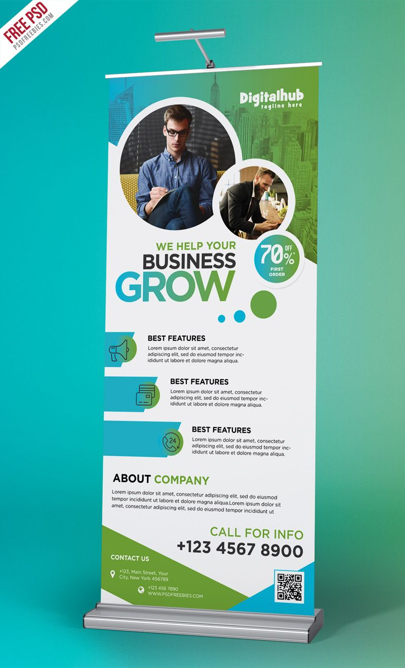 Business Promotion Roll Up Banner Template Psd Standing