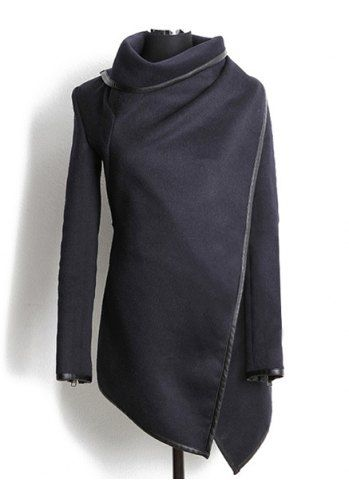 Women/'s Zip-up Long Asymmetrical Belted Grey Leather Coat