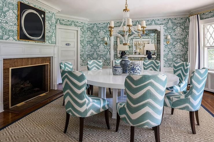 Teal Chevron Chairs Mix With Clarence House The Vase Wallpaper While  Keeping The Tones The Same To Create An Elegant Yet Eclectic Dining Room  Design.