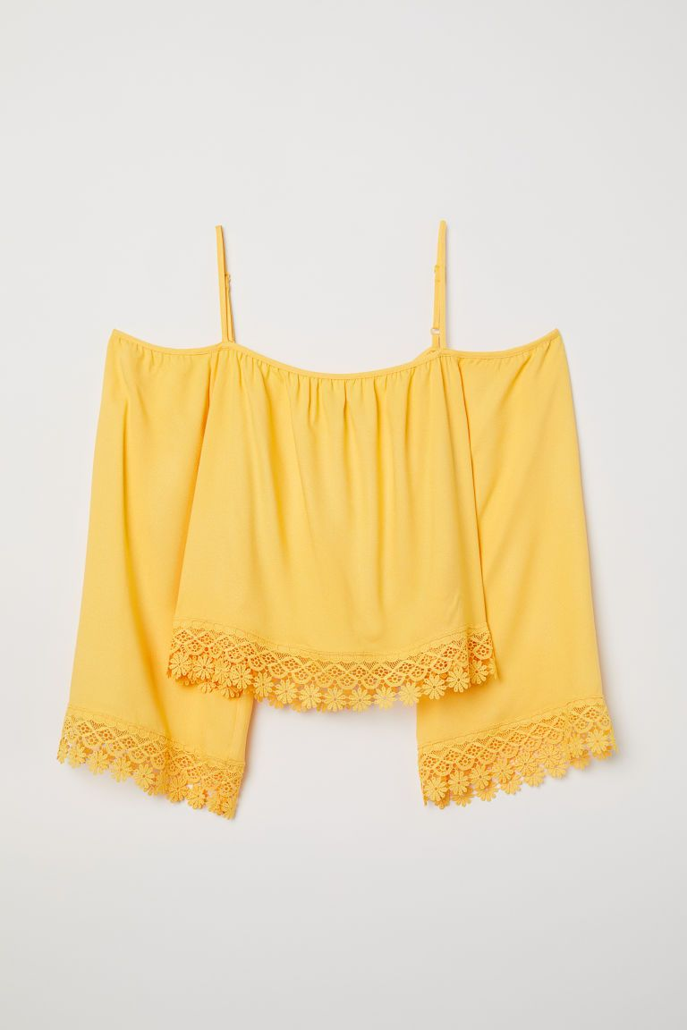 H&m yellow lace dress  Off shoulderbluse  Pinterest  Shoulder Clothes and Clothing