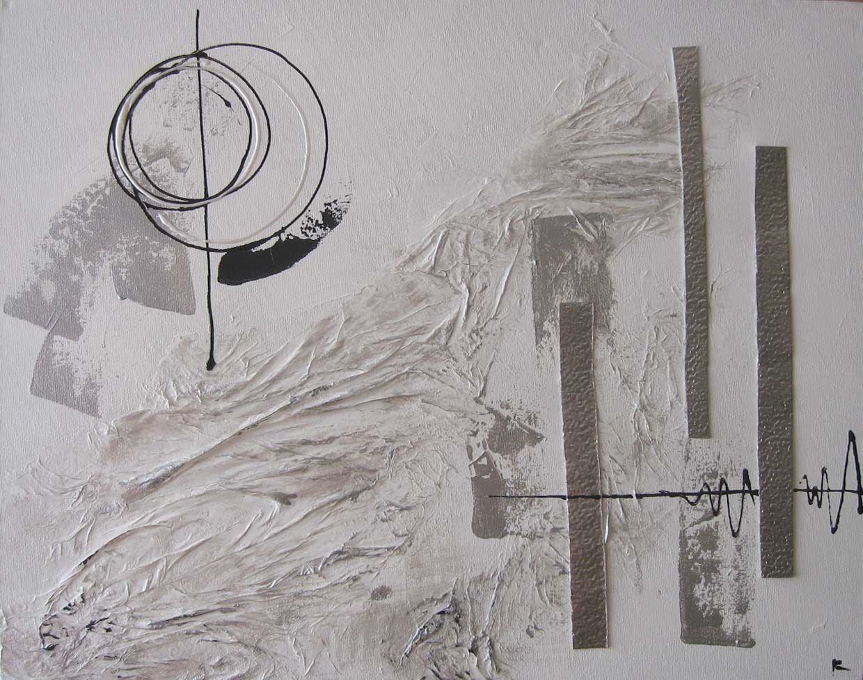 Comment Faire Du Gris Argenté En Peinture peinture abstraite blanc, argent et noir | peinture