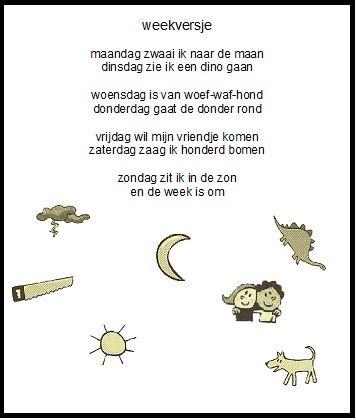Dagen van de week | Gedichten voor kinderen | Pinterest | Kalender